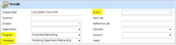 JOB DETAIL dashboard tab.